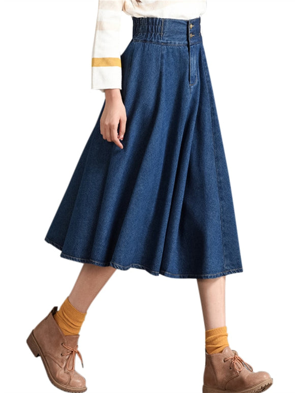 Women's Casual Denim Skirt Spring Summer Girls Flared Pleated Button Zipper Elastic Waist Mid-Calf Elegant Jean Long Skirts