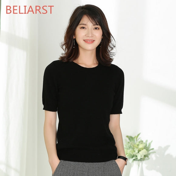 BELIARST  New Round Neck Cashmere Sweater Female Pullover Short-Sleeved Sweater Sweater Five Points Sleeve Short Women's Shirt