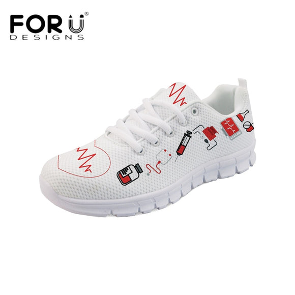 FORUDESIGNS Nurse Heart Print Flats Shoes Women Fashion Nursing Shoes Comfortable Mesh Sneakers Autumn Woman Light Walking Shoes