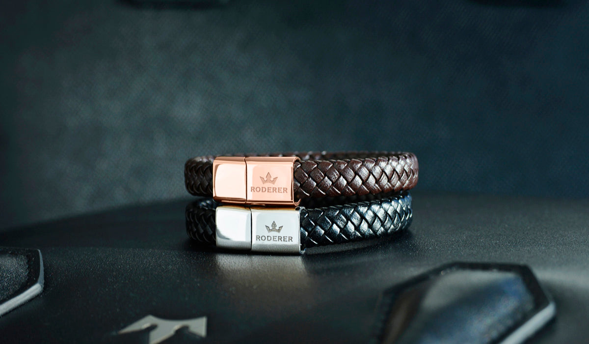 Roderer Marco Leather Mens Bracelets