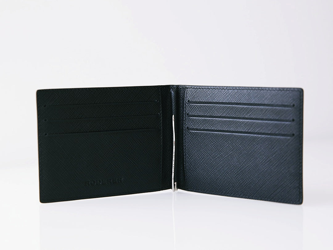 TROPHY BIFOLD 6 CARD SAFFIANO BLACK WITH MONEY CLIP