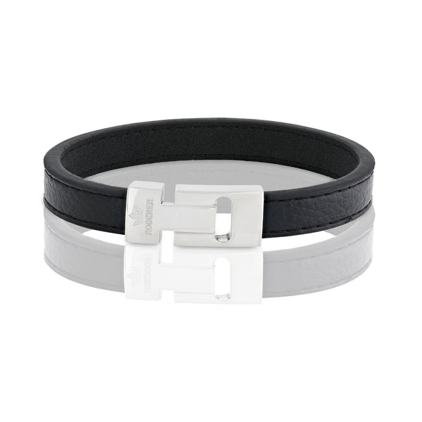 ANDREA BRACELET > GRAINED LEATHER BLACK