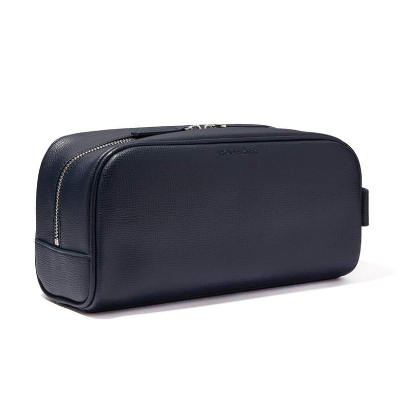 AWARD WASH BAG > ITALIAN LEATHER NAVY BLUE