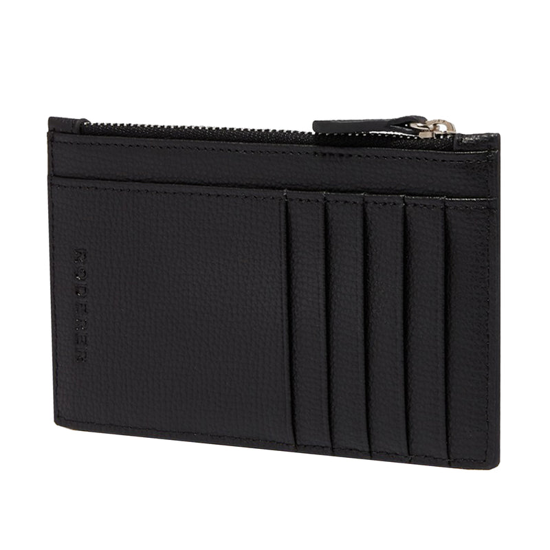 AWARD ZIP CARD HOLDER > ITALIAN LEATHER BLACK