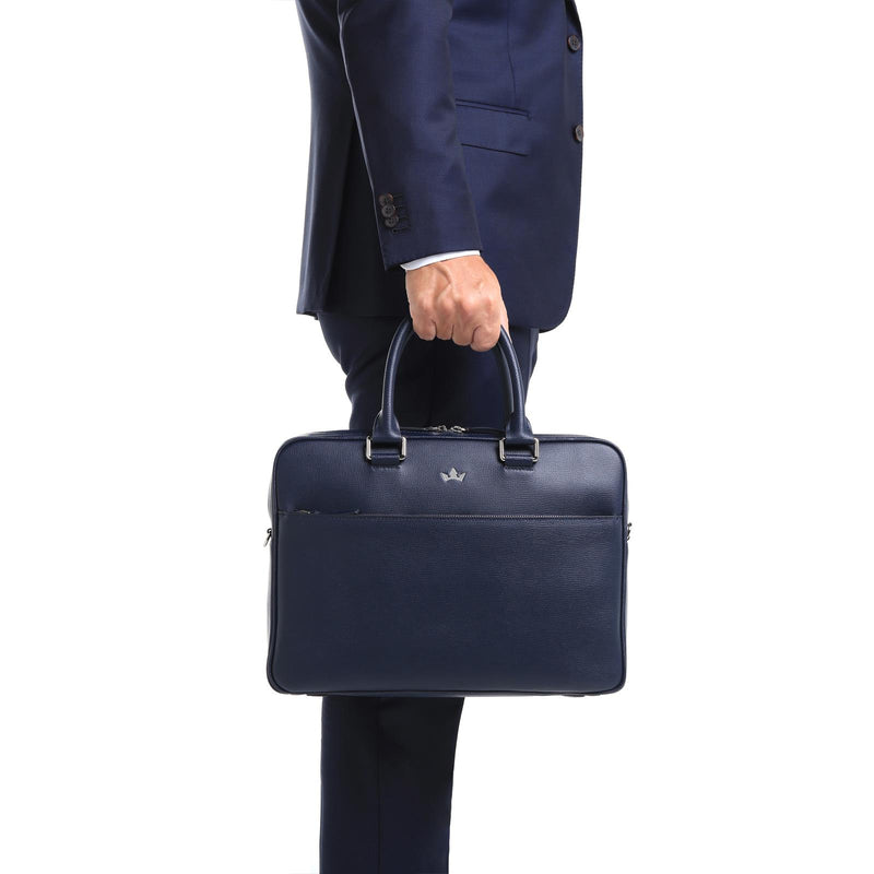 AWARD BRIEFCASE > ITALIAN LEATHER NAVY BLUE
