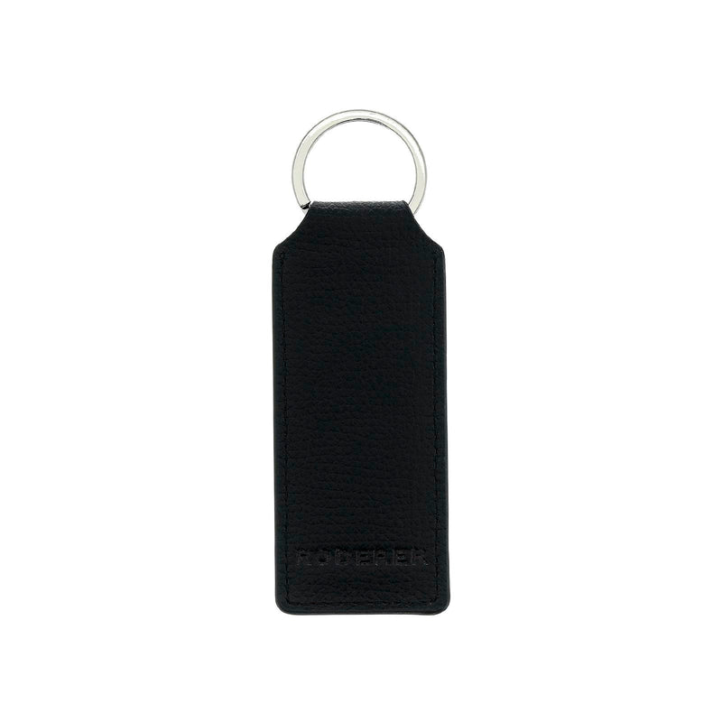 AWARD RECTANGULAR KEY RING > ITALIAN LEATHER BLACK