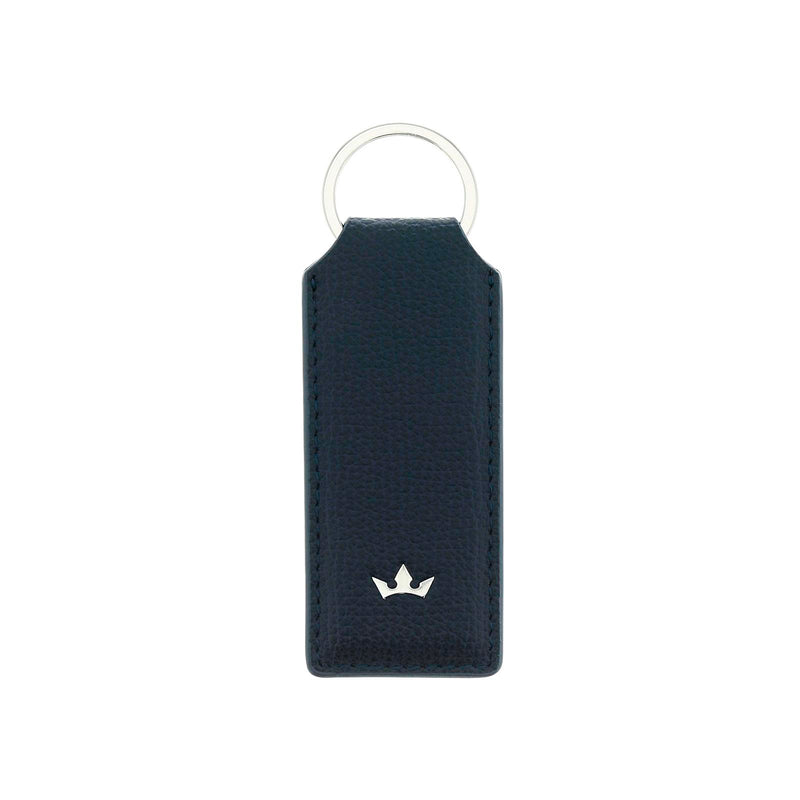 AWARD RECTANGULAR KEY RING > ITALIAN LEATHER NAVY BLUE