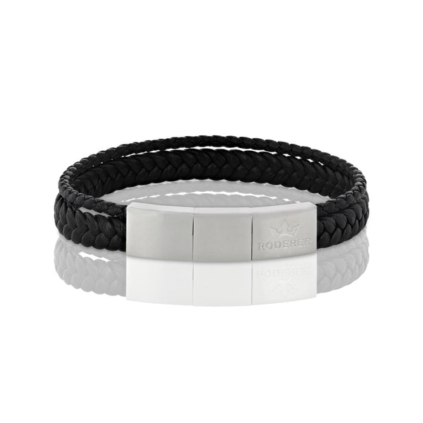 ENZO BRACELET > WOVEN LEATHER BLACK