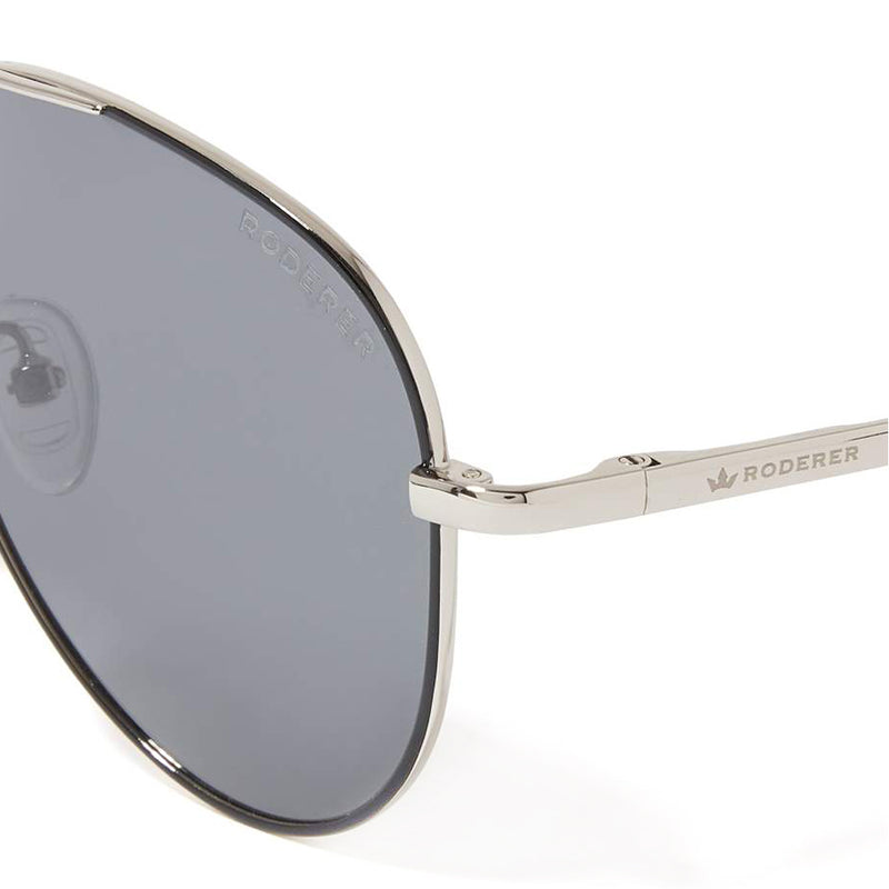 JAMES AVIATOR POLARIZED SUNGLASSES > BLACK LEATHER BRIDGE