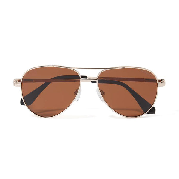 JAMES AVIATOR POLARIZED SUNGLASSES > ROSE GOLD / BROWN