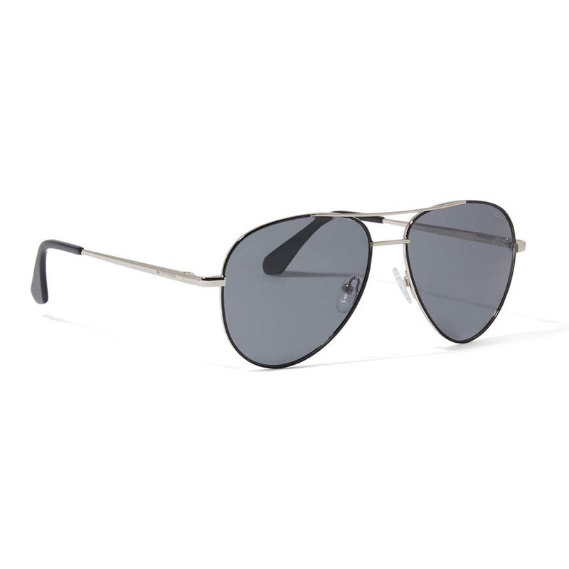 JAMES AVIATOR POLARIZED SUNGLASSES > SILVER & BLACK / GREY