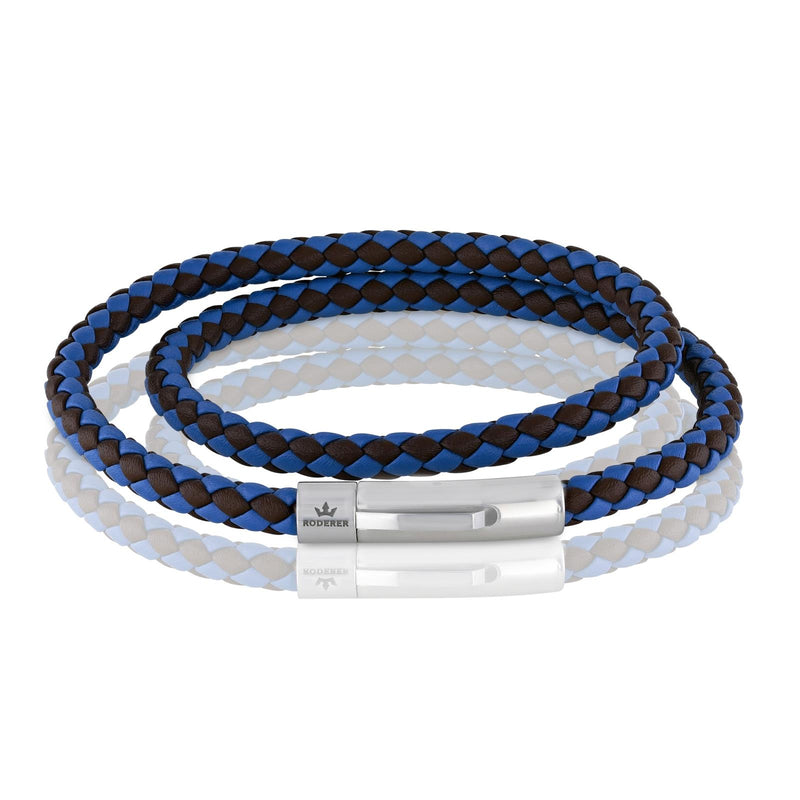 MATTEO DOUBLE TOUR BRACELET > BLUE / BROWN