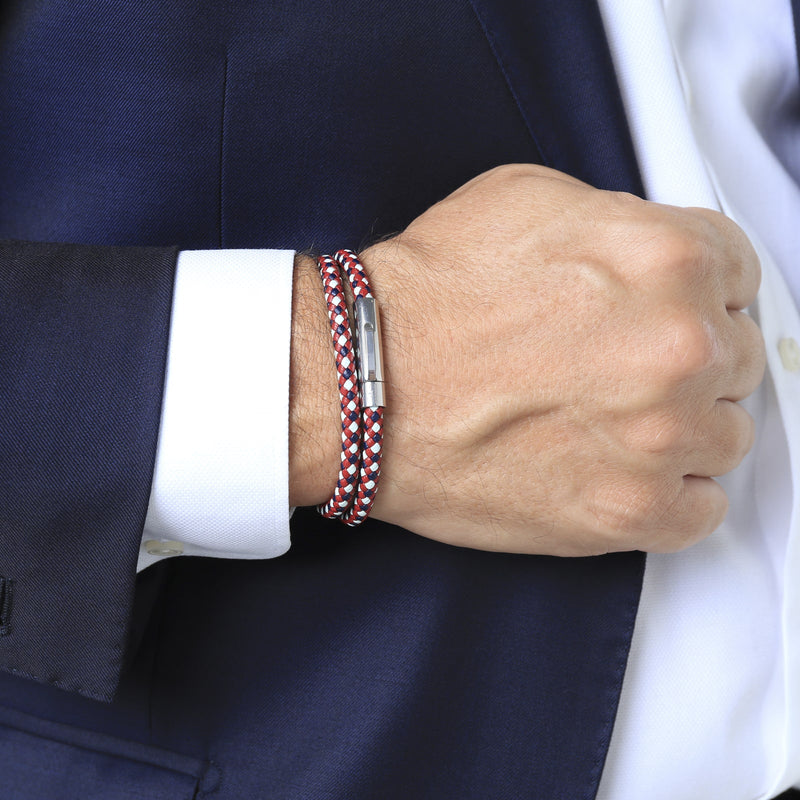 MATTEO DOUBLE TOUR BRACELET > BLUE / WHITE / RED