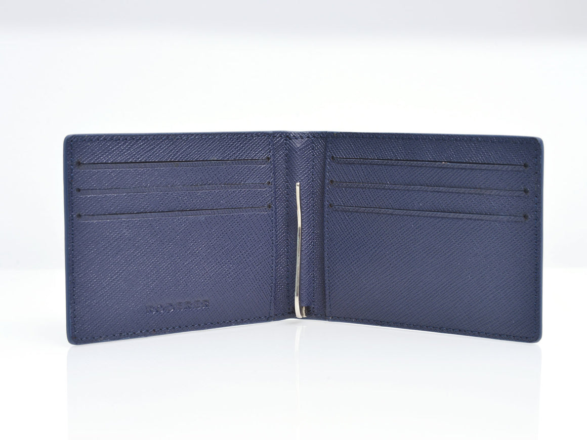 Bifold 6 Card Trophy Saffiano Navy Blue Money Clip Wallet