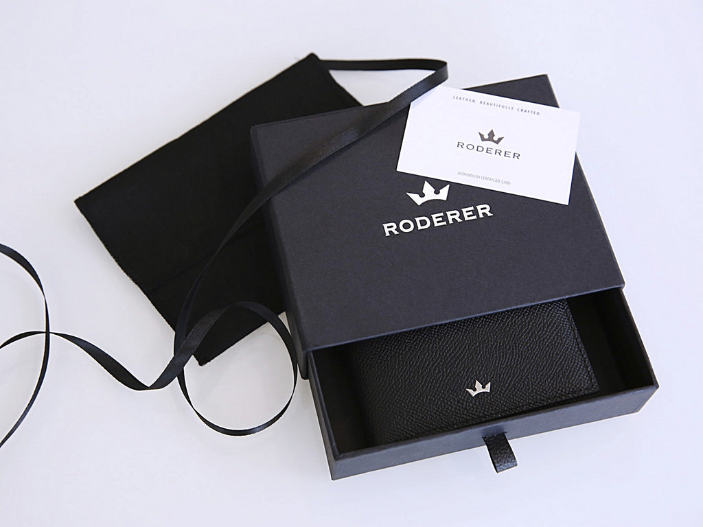 Roderer Trophy Bifold 6 Card Saffiano Black Money Clip Wallet Packaging
