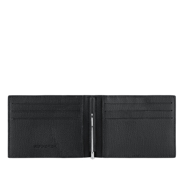 TROPHY 6CC MONEY CLIP BIFOLD > ITALIAN LEATHER BLACK