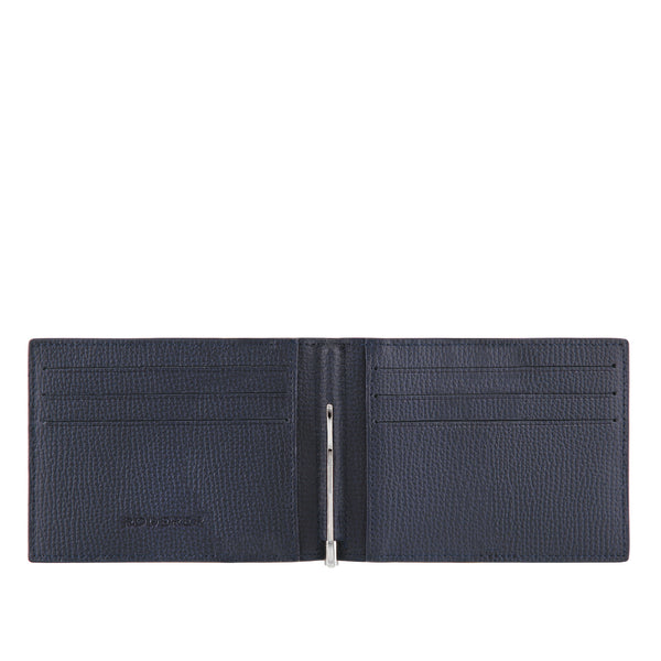 TROPHY 6CC MONEY CLIP BIFOLD > ITALIAN LEATHER NAVY BLUE