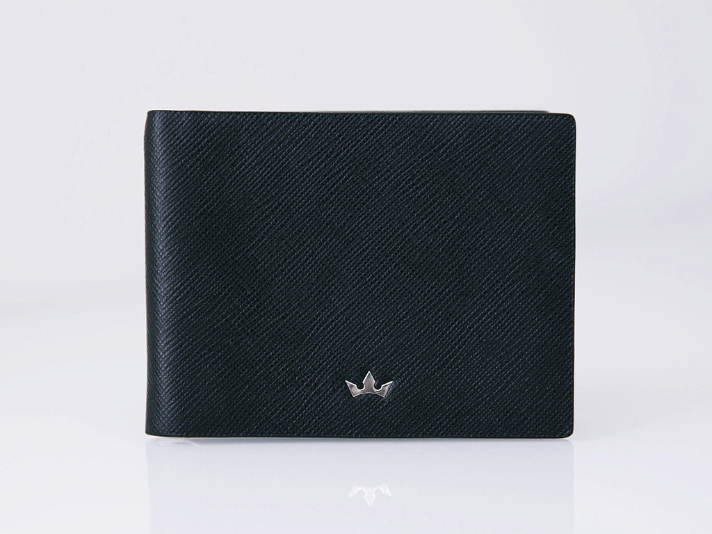 Roderer Trophy Bifold 6 Card Saffiano Black Money Clip Wallet