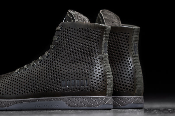 HIGH-TOP OLIVE LEATHER TRAINER (MEN'S