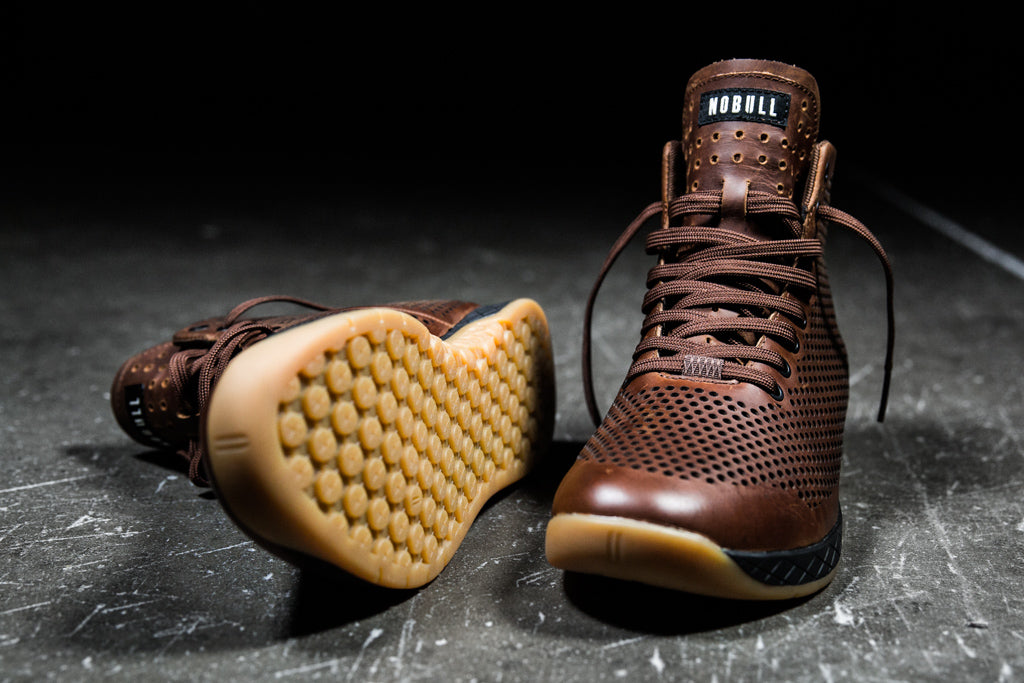 HIGH-TOP COFFEE LEATHER TRAINER (MEN'S