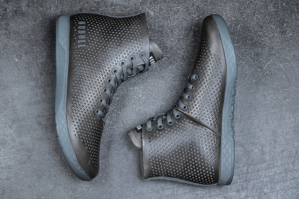 HIGH-TOP NORDIC GREY LEATHER TRAINER