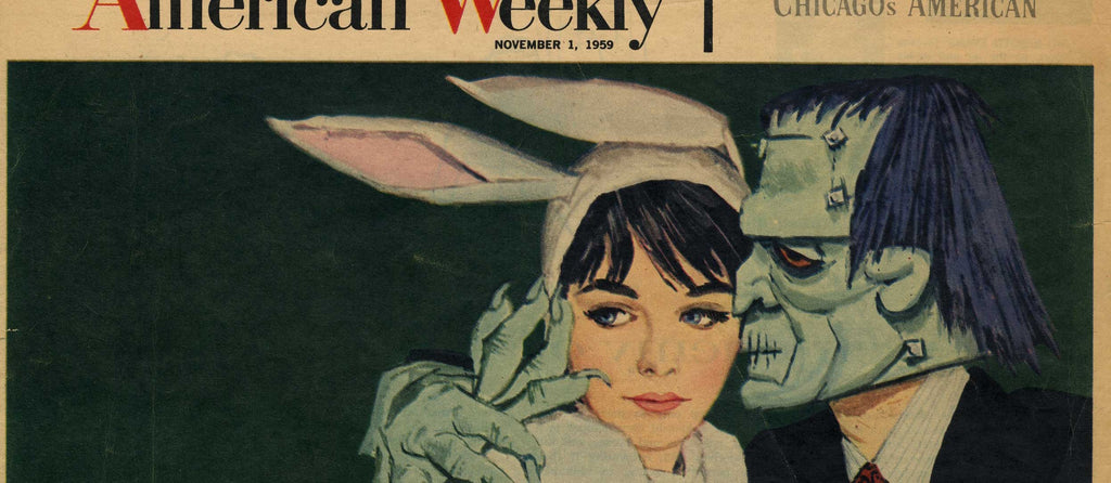 1959 American Weekly magazine cover of a woman dressed as a white rabbit and a man dressed as Frankenstein's monster.