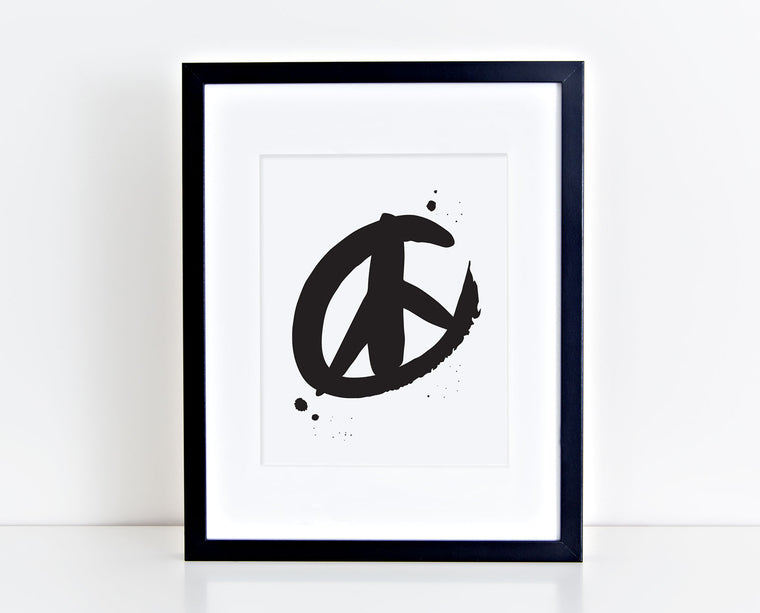 Brushed Peace Sign Screenprint