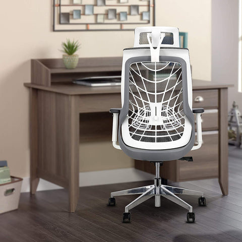 JD9 1 Seater Chair (Glass with Nylon Back With Korean Mesh, White , Grey)