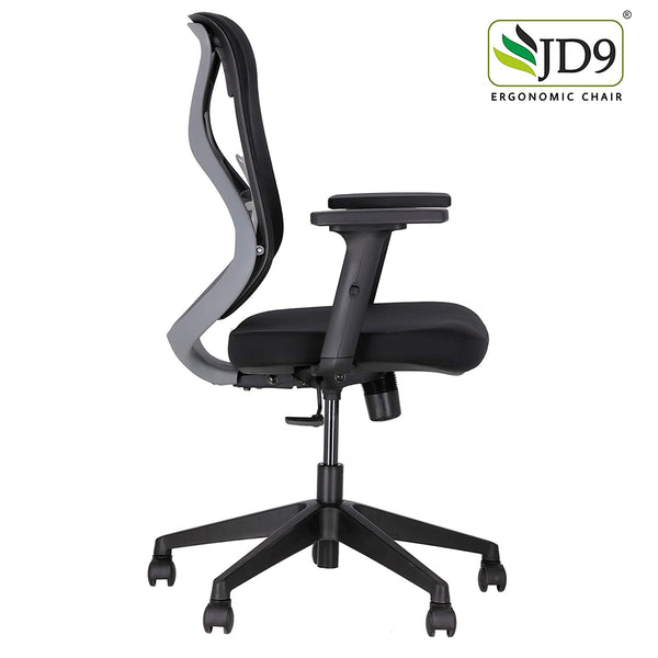 JD9 Ergonomic Chair (Breathable Mesh, Black, Grey)
