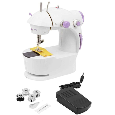 JD9 Mini Portable Sewing Machine 4 in 1 for Home Tailoring, Sewing Machines, Mini Sewing Machine for Home, Sewing Machine Mini, Hand Machine for Stitching, Hand Sewing Machines,White & Purple