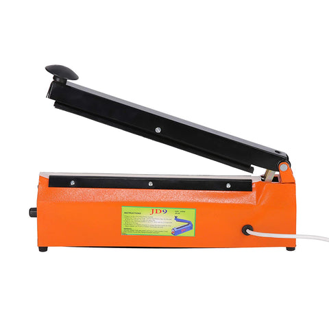 "JD9 12 inches Premium Range Metal Heavy Duty Heat Sealer Machine, Heat Sealer for Plastic Bag 12"" inch, Impulse Sealer, Impulse Sealer Machine, Packing Machine (Orange)."