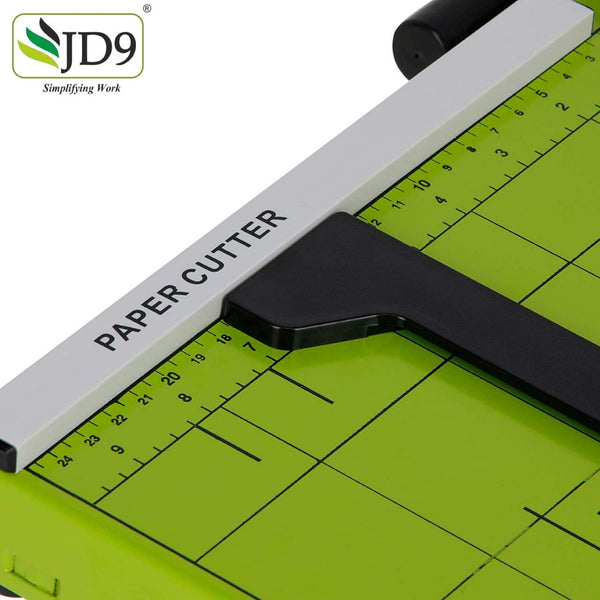 JD9 Paper Cutter A4 Heavy Duty Professional Paper Trimmer, Guillotine Craft Machine for Office, Home, Craft, Photo Studio (A4, B5, A5, B6, B7) (Green, 12.5 x 9.8 x 1.2 inch)