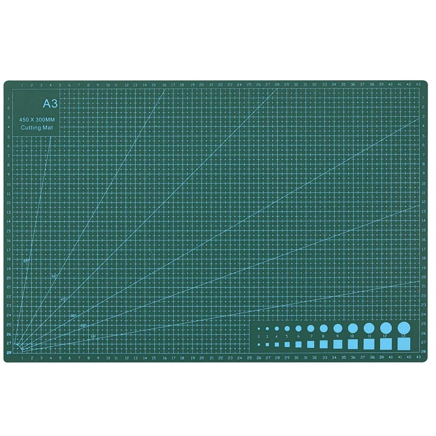 JD9 Professional Self-Healing 5 Layered Double Sided Durable Non-Slip PVC Cutting Mat -A3(Green, 17 x 11 Inch/ 43x 28 cm)