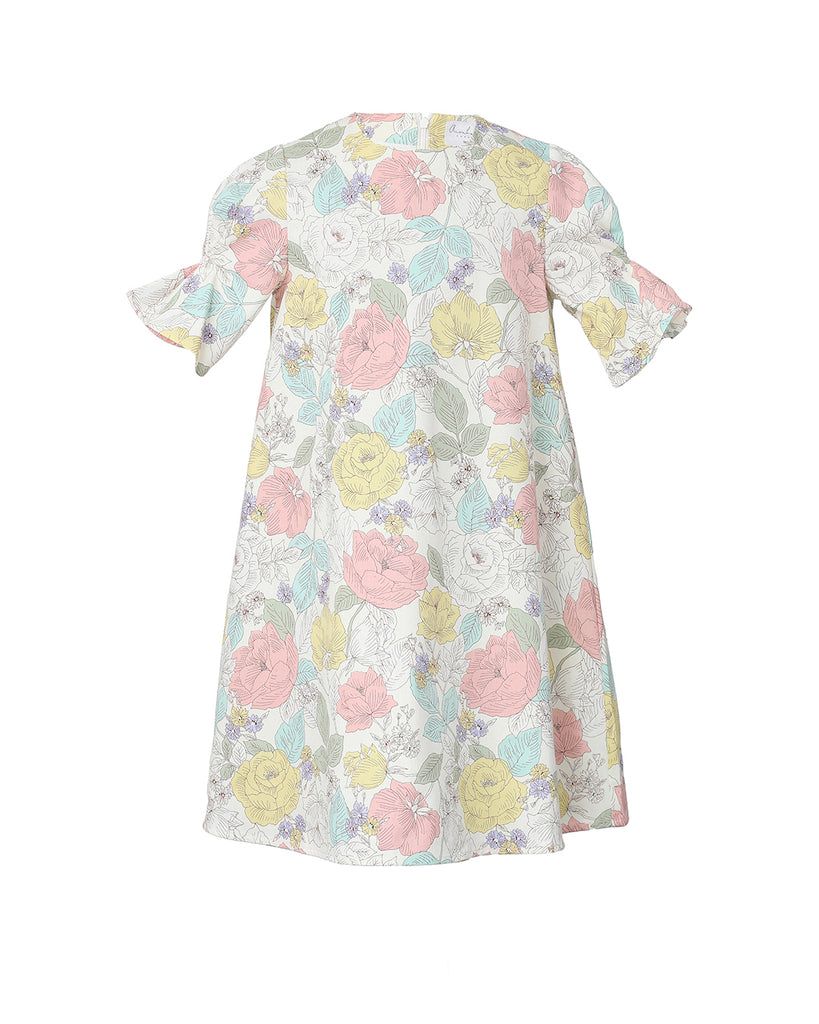 Flora dress (white with Rococo floral pattern)