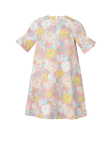 Flora dress (pink with Rococo floral pattern)