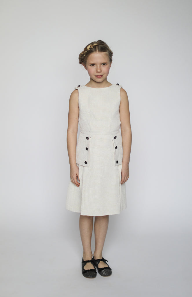 Daphne dress (ivory with gold metallic thread)