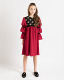 Bella dress (burgundy with golden embroidery blooms)
