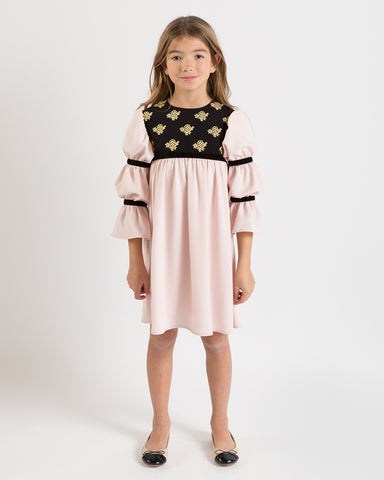 Bella dress (pink with golden embroidery blooms)