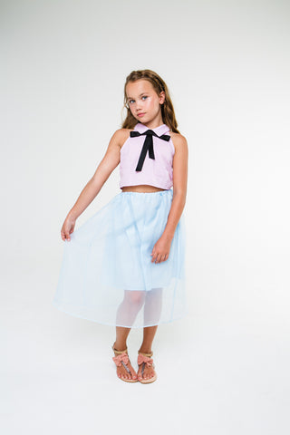Louise (blue gingham/carnation pink skirt)