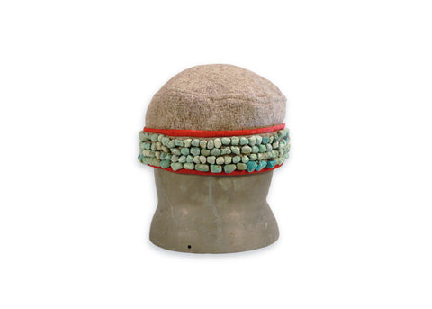 Tibetan Wool Hat with Turquoise, Mid-20th century