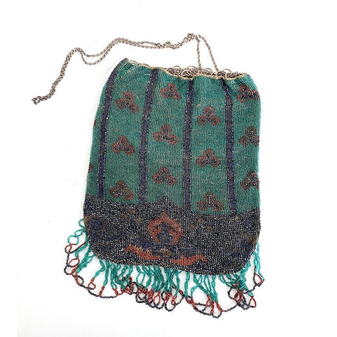 Beaded Drawstring Reticule Purse, Circa 1920
