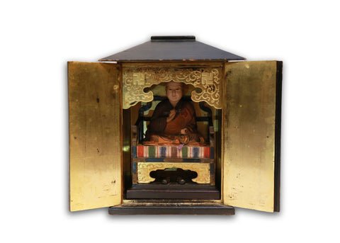 Kukai, known as  Kobo-Daishi, Buddhist Monk, Ensconced in a Zushi, Meiji Period