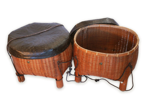 Oversized Farmer's Bamboo Storage Baskets (Pair), Japanese, Taisho Period