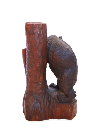 Ainu Bear Leaning on Tree Trunk, Hokkaido Japan, Mid-Century