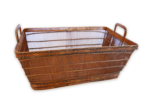 Rectangle Shaped Bamboo Vegetable Basket, Southern Thailand, Early 20th century