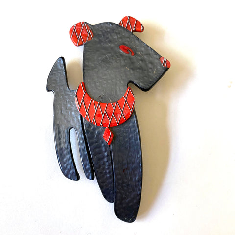 Lea Stein Dog brooch, Laminated rhodoid, France, 20th Century