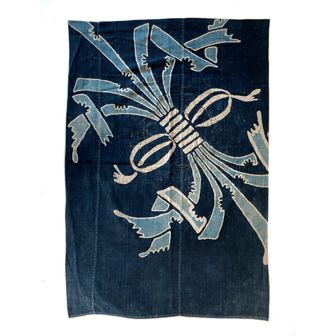 "Futon cover, Indigo dyed Cotton, Tsutsugaki ""Noshi"" pattern"