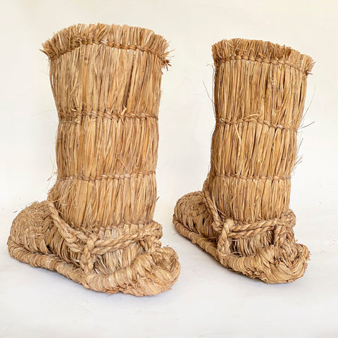 Pair of Straw boots, Japanese, Mingei , c. 1950