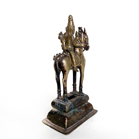 Four Armed Shiva on Horse Holding Uma, Brass bronze, India, 19th century