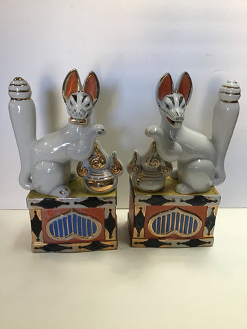 Pair of Porcelain Kitsune (Foxes), Japanese, Mid-century